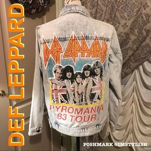 🆕 Def Leppard Denim Jean Jacket Oversized